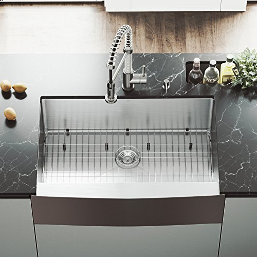 VIGO 33 inch Farmhouse Apron Single Bowl 16 Gauge Stainless Steel Kitchen Sink with Edison Stainless Steel Faucet, Grid, Strainer and Soap (Farmhouse Faucet Pull)