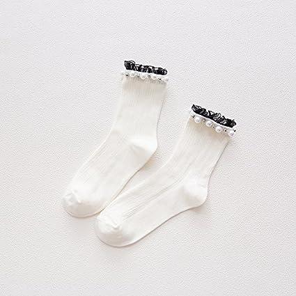 Otoño calcetines de algodón puro, mujeres y tren Pearl LACE LACE suave invierno linda niña