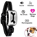 No Bark Collar [2017 Upgrade SILVER Version] GOLINIT Rechargeable Dog Barking Control Training Collar / Vibration / No shock / Reflective Strap for Small Medium Large Dogs