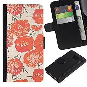 KingStore / Leather Etui en cuir / Samsung Galaxy S6 / Peach Vignette Wallpaper Flores