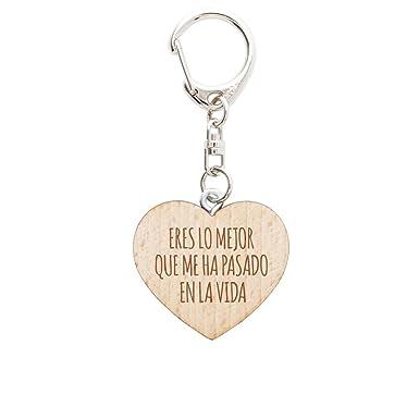 Gravado Schlüsselanhänger aus Holz in Herzform mit Gravur, Parent, ES