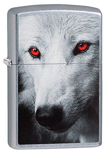 Zippo (28877) - Red Eye Wolf, Street Chrome - Zippo Chrome Knife