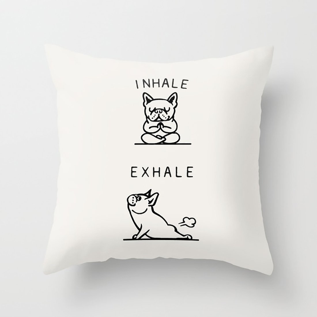 HotLakers Cushion Inhale Exhale Frenchie Pillow Set with Pleasing Feeling 18 x 18In