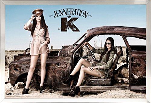 Framed Jenneration K 24x36 Poster in Brushed Nickel Finish Wood Frame Kendall Jenner Kylie Jenner