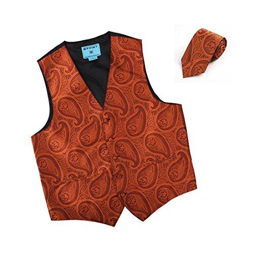 EGD2B04C-M Orange Paisley Microfiber Dress Tuxedo Vest Neck Tie Set Excellent Series By Epoint