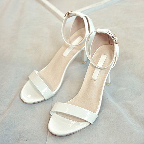 AJ-2017 nuovo coreano sottile scarpe femmina fibbia sandali tacchi in estate con un bene tutto il match femminile estate sandali.,eu33,white