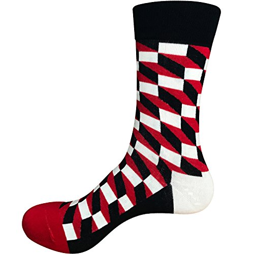 Areke Mens Soft Cotton Comfort Sport Crew Socks, Colorful Grid Patterned Athletic Casual Soxs 6 Pairs Color 6Pack Redblack Size US Shoe Size 6-12 by Areke (Image #2)