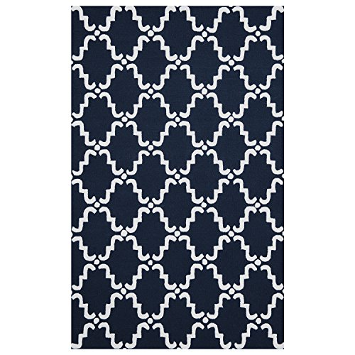 (Superior 5' x 8' NavyBlue/White Moroccan Lattice Area Rug, Hand-Hooked Wool Blend, 5-feet by 8-feet)