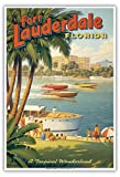 Fort Lauderdale, Florida - A Tropical Wonderland - Boat Racers - Yachting Capital of the World - Vintage Style World Travel Poster by Kerne Erickson - Master Art Print - 9in x 12in