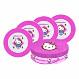 Paperproducts Design Hello Plaid Kitty Porcelain Plates, 8.25-Inch, Set of 4