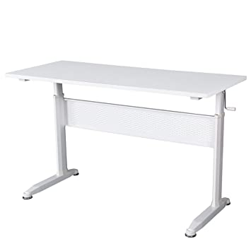 DEVAISE Adjustable Height Standing Desk 55 Inches With Crank Handle / White