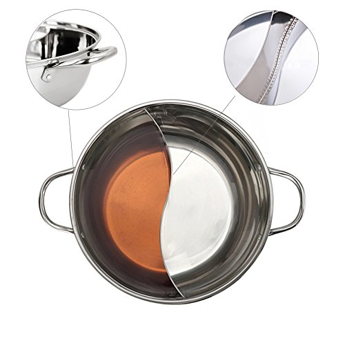 Hot Pot, Giveme5 Stainless Steel Twin Hot Pot Cookware Shabu Shabu Dual Sided Induction Cooker Gas Furnace Include Pot Lid and Pot Spoon (30cm) by Giveme5 (Image #3)'