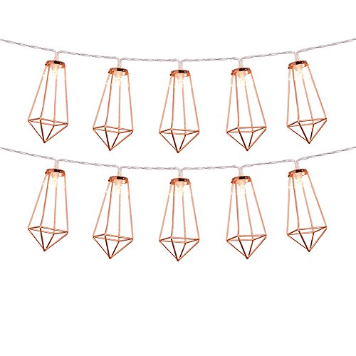 Omika Rose Gold Geometric Led Fairy Lights, USB Plug & Battery Powered, Boho Metal Led Lantern String Lights – Perfect for Multipurpose use, 10 lights (5ft/1.8m Warm White) by Omika