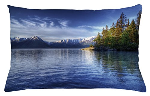 Alaska Throw Pillow Cushion Cover by Ambesonne, Turnagain Arm of the Cook Inlet Anchorage Idyllic Lakeside Photography, Decorative Square Accent Pillow Case, 26 X 16 Inches, Lime Green Navy - Anchorage Square