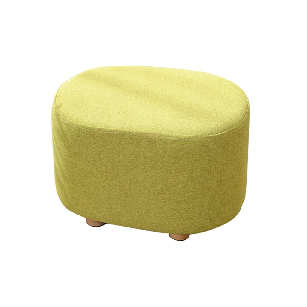 AO-stools Footstool Change Shoe Stool Pouffe Chair Ottoman Removable Linen Cover Seat Upholstered Footrest with Cushion for Living Room Hallway 40x30x27cm (Color : Green)