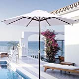 9 Foot White Patio Furniture Wood Market Umbrella