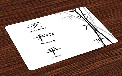 Ambesonne Bamboo Place Mats Set of 4, Illustration of Chinese for Tranquility Harmony Peace with Bamboo Pattern, Washable Fabric Placemats for Dining Table, Standard Size, Charcoal - Chinese Fabric Designs
