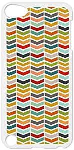 Colorful Sliced Chevrons- Case for the Apple Ipod 5th Generation-Hard White Plastic