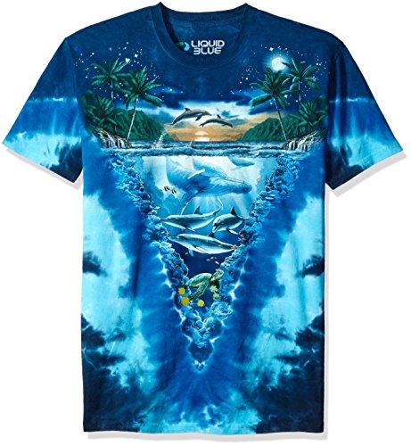 Liquid Blue Men's Night Time Dive T-Shirt, Tie Dye/Multi, X-Large (T-shirt Liquid Dye Tie Blue)
