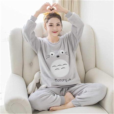 Wenhua Pajamas Woman, Pijamas Femeninos de Dibujos Animados en otoño e Invierno, Mi Vecino Totoro-L, Fashion Pijama de Mujer Conjunto de Dos Piezas ...