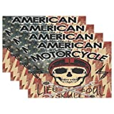 America Flag and Skull Placemats Set of 4 for Kitchen Table Heat Resistant Washable Table Mats
