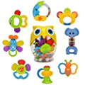 Teether Rattle Set Baby Toy - Happytime SLE84822 (2017 New Design)8pcs Latest Rattle & Teether Toys with Adorable Color in Owl Bottle Christmas Gift for Newborn Baby by BABY ART PARK that we recomend individually.