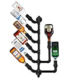 "Lily's Home Industrial Plumbing Pipe Wall Mounted Wine or Liquor Bottle Holder, Rustic Steampunk Design, Save Space in Your Kitchen or Bar Area, Black Finish (33"" Long, 16"" Wide)"