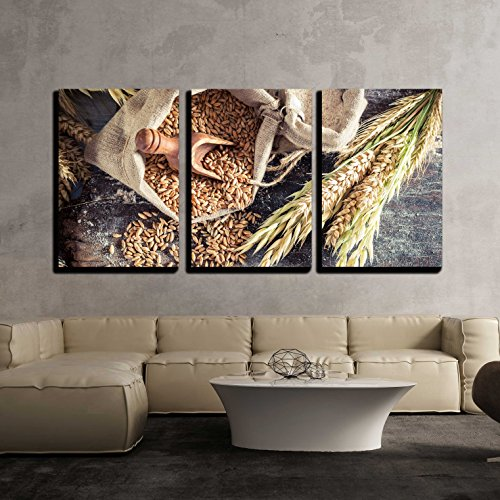 wall26 - 3 Piece Canvas Wall Art - Healthy Ingredients for Rolls and Bread with Whole Grains - Modern Home Decor Stretched and Framed Ready to Hang - 24