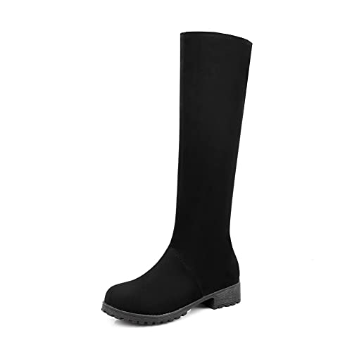 3ff38b898e6 AdeeSu Womens Low-Heel Zip Knee-High Black Suede Boots SXC02404-4.5 B