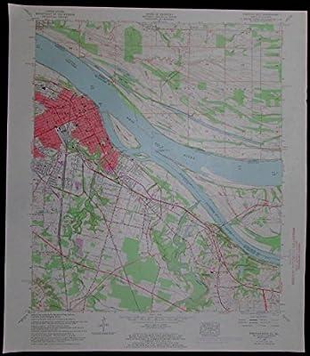 Paducah East Kentucky Illinois Ohio River vintage 1968 old USGS Topo chart