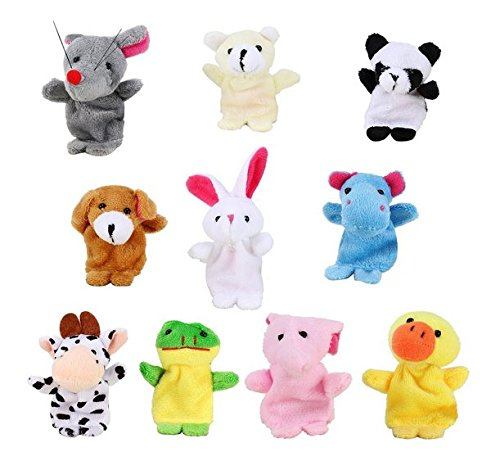(Emorefun 10 pcs Finger Puppets Set Cartoon Animal Style Soft Velvet Dolls Props Educational Toys for Baby Story Time, Shows, Playtime)