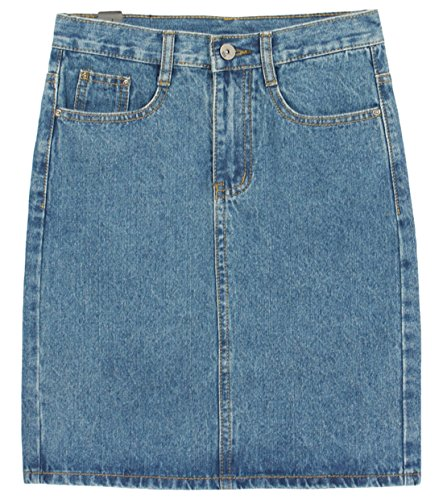 Chouyatou Women's Basic Five-Pocket Rugged Wear Denim Skirt with Slit (X-Small, Light (Denim Jean Skirt)