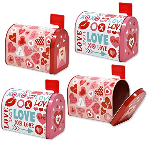Gift Boutique Valentine Mailbox 4 Mini Tins for Kids with Front Opening and Swinging Arm in 2 Valentine Cute Designs