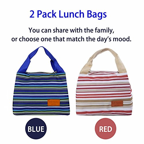 2pcs Stripe Canvas Fashion Lunch Tote Bag with Zipper Dual Handles Cooler Lunch Bag Picnic Bag
