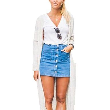 38ac61958ea Women Button Denim Skirt High Waist Bodycon Slim Pencil Short Mini Skirt  Jean Skirt Dress (