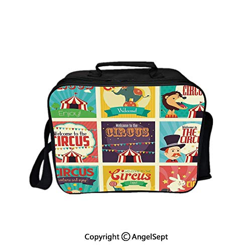 Reusable Lunch Bag With Adjustable Shoulder Strap,Collection of Old Circus Icons Carnival Magicians Old Fashioned Nostalgic Festive Artsy Print Multi 8.3inch,Office Work Picnic Hiking Beach Lunch Box ()