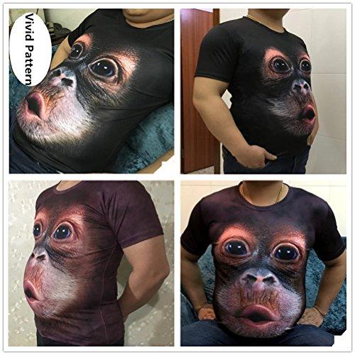 Per Cotone Modello Animale shirt Estate Size In Camicie Maglietta A Orango Casual Uomo 3d Girocollo Stampate Plus Magliette Maniche T Creative Corte UwnqO7P4P