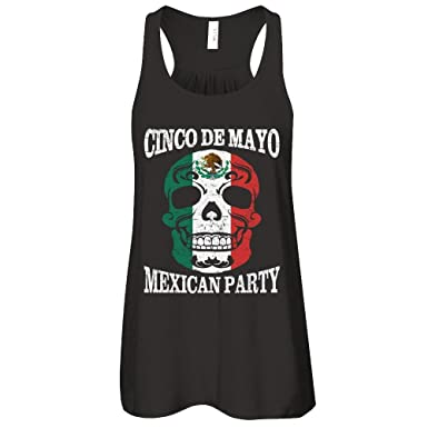 408394b9 Teely Shop Women's Cinco De Mayo Skull Mexican Party Skull Bella Canvas -  Flowy Racerback Tank
