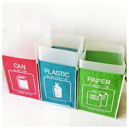 Recycle Waste Containers - Recycle Bin Separate Recycle Bag Waste Baskets Compartment Container with Inner Frame (3 Bins + 3 Inner Frames) by Happy Sale