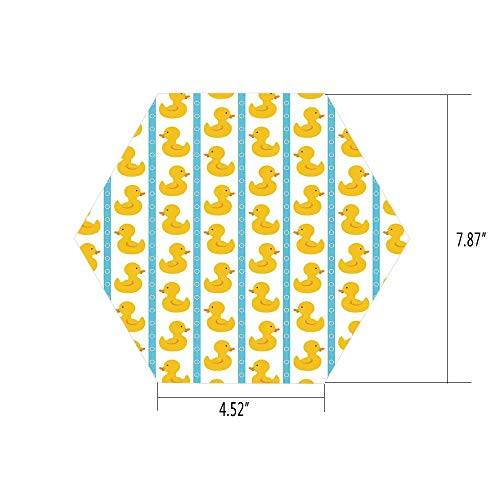 PTANGKK Hexagon Wall Sticker,Mural Decal,Rubber Duck,Yellow Duckies with Blue Stripes and Small Circles Baby Nursery Play Toys Pattern,White,for Home Decor 4.52x7.87 10 Pcs/Set -
