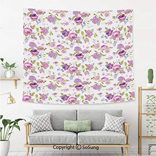 Shabby Chic Decor Wall Tapestry,English Roses Violets Gardening Plants Inflorescence Twigs Spring Buds,Bedroom Living Room Dorm Wall Hanging,60X40 Inches,Multicolor ()