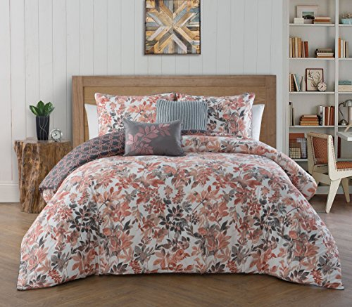 Avondale Manor Cali 5-Piece Comforter Set Queen, Coral (Coral And Bedding Gray)