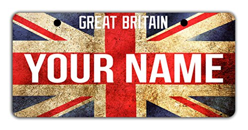 Uk National Costume For Kids (BleuReign(TM) Personalized Custom Name License Great Britain Flag Plate Bicycle Bike Moped Golf Cart 3