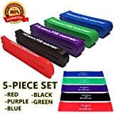 Fitness Dreamer Resistance Workout Pull Up and Fitness Band(s) for Exercise with Mini Band(s), eGuide and Videos (#7 Five-Piece Set Ultimate Full Collection (Red, Black, Purple, Green, Blue))