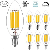Led Candelabra Bulb, Goodia 6W LED Filament Candle Light Bulb, 2700K Warm White, 60W Incandescent Replacement, E12 Candelabra Base Lamp, Clear Glass C35 Torpedo Shape Bullet Top, 6 Pack