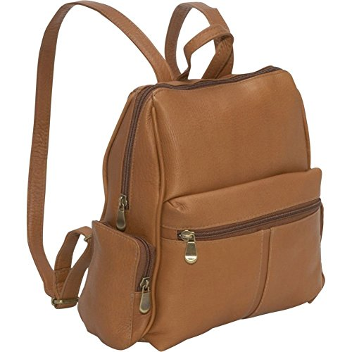 Le Donne Leather Zip Around 4 Pocket Women's Backpack / Purse in Tan