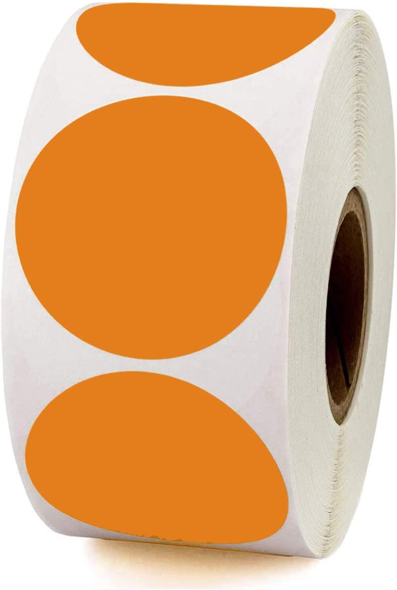 Color Coding Dot Stickers,Writable Surface Self-Adhesive Removable Labels,Round Sticky Label for Organizing Inventory,2 inch 500 Pcs Per Roll