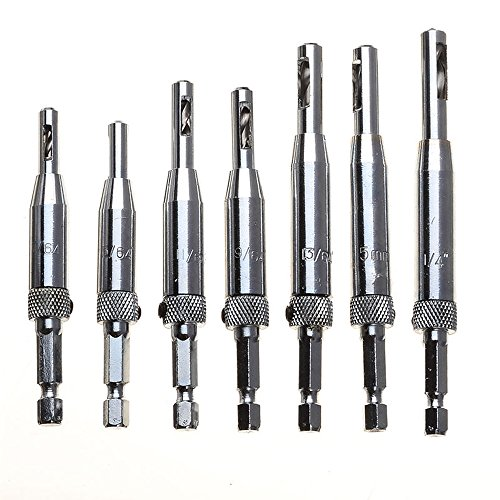 """Migiwata 7Pcs HSS Adjustable Self-centering Door and Cabinet Hinge Hole Opening Drill Bit Set with 1/4"""" for Drilling Perfect Pilot Centered Holes Hex Shank Packed in Reusable Plastic Case (Drill Self Centering Guide)"""