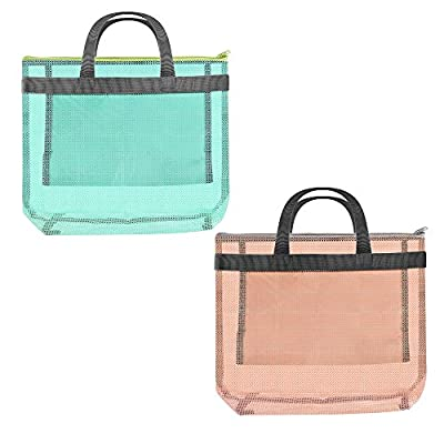 COSMOS Pack of 2 Small Mesh Beach Bag Tote for Swim Pool, Short Handles
