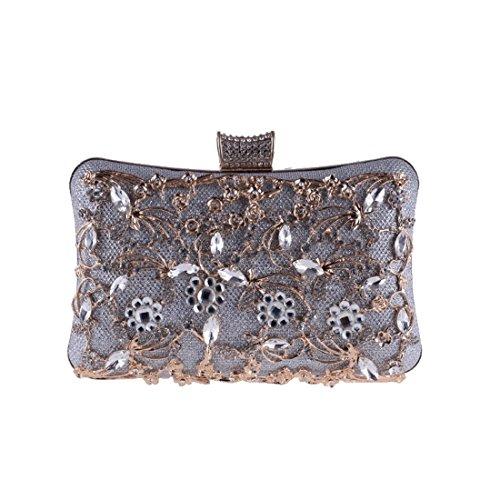 borsa argento la sera donne diamante delle europee borsa frizione scava borsa da Vola tappeto rosso borsa sera per banchetti fuori da americane 6Zqwpv1Ex